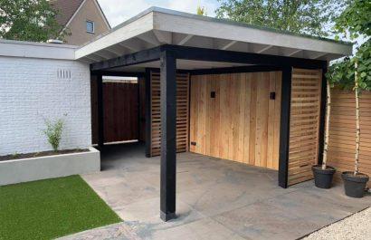Tuinaanleg met veranda in Barneveld